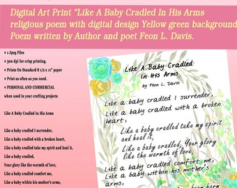 """Art Print Christian poem """" LIKE A BABY Cradle In His Arms"""" turquoise, gold floral