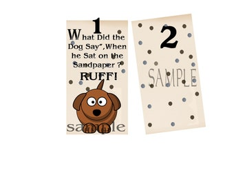 Poke dot- bookmark- What did the dog say When he sit on the sandpaper? RUFF! -Humorous -Digital Design