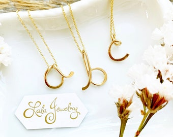 14k GF Initial Pendant-lowercase initial necklace, dainty initial necklace