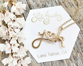 The Original Two Lovers - 14k Gold filled Personalized Initials Necklace -engagement, wedding, anniversary, lovers jewelry, couples jewelry