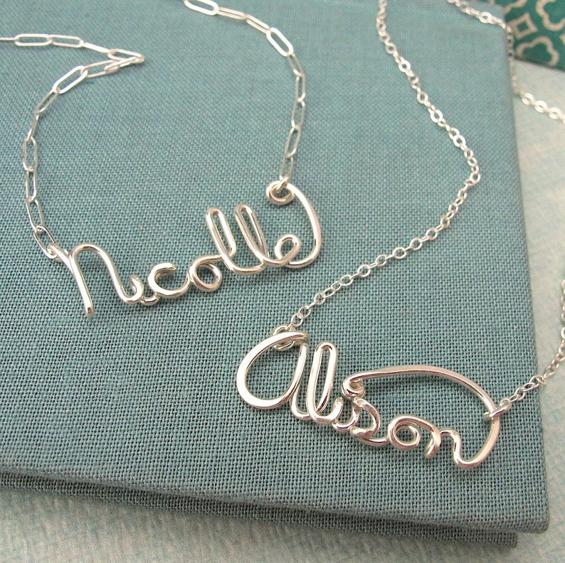 e3757d70dae6ba Custom Script Name Necklace in sterling silver   Etsy