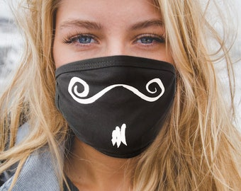 Face Mask, Fun Face Covering, Boulanger Mustache Design in Cotton