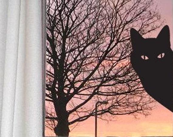 Cat Window Sticker or Peeping Tom Cat Decal, Kitty Sticker Gift
