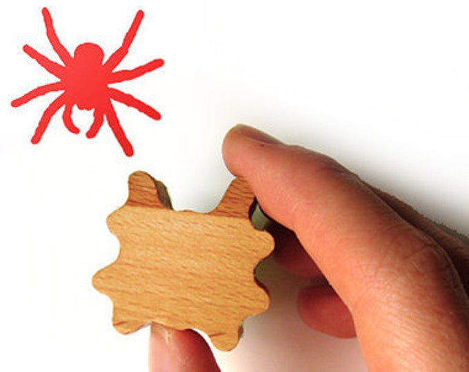 Spider Rubber Stamp, Wooden Spider Stamp for Card Making and Scrapbooking