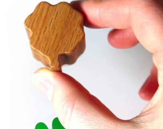 Clover Stamp, Good Luck Stamp, Wooden Four Leaf Clover Stamp