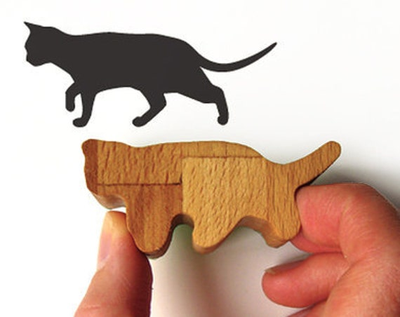 Prowling Cat Stamp, Kitty Wood Stamp Gift, Rubber Ink Stamp