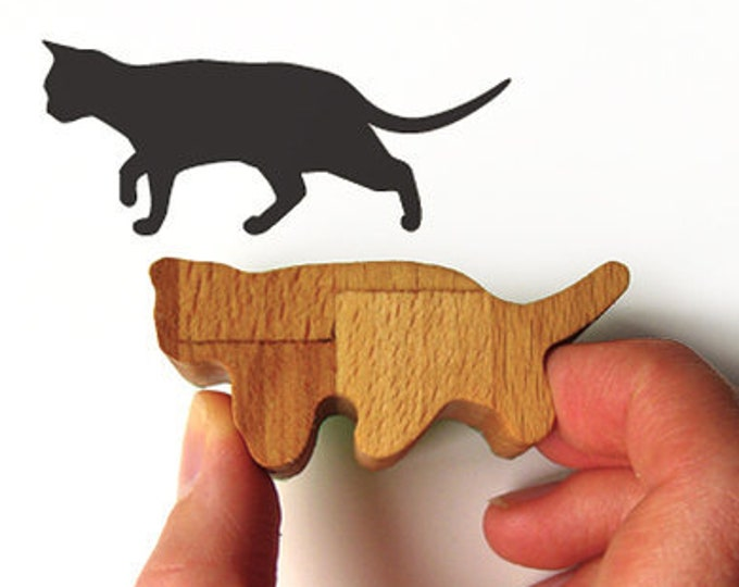 Cat Stamp Prowling, Wood and Rubber Ink Stamp