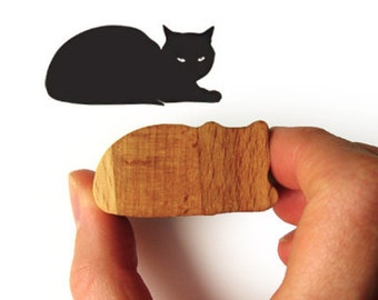 Cat Stamp, Wooden Handled Sphinx Cat Gift Rubber Stamp for Kitty Card Making or Scrapbooking