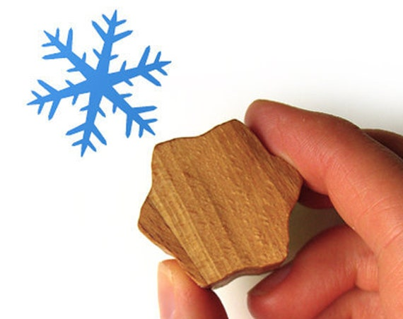 Snowflake Stamp, Wooden Snow Flake Stamp for Christmas Card Making