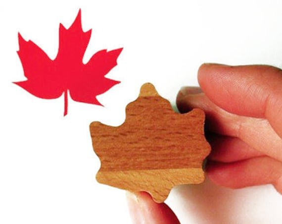 Canada Maple Leaf Stamp, Rubber, Wooden Handled
