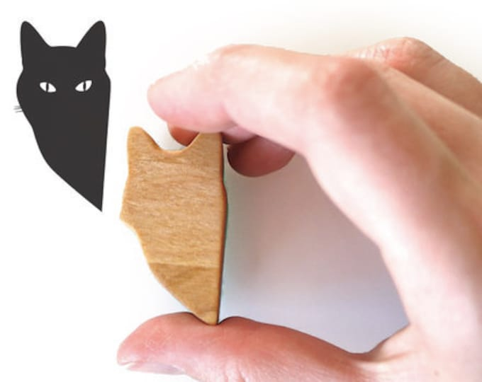 Peeping Tom Cat Rubber Ink Stamp, Wooden Handle