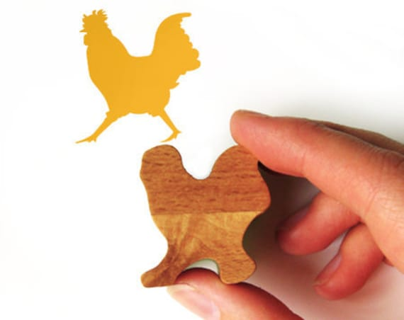 Cockerel Stamp, Chicken Rubber Stamp from Wood for Scrapbooking and Card Making