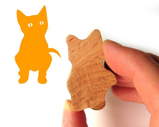 Kitten Stamp Gift, Kitty Stationary Wooden Handled Cat Rubber Stamp