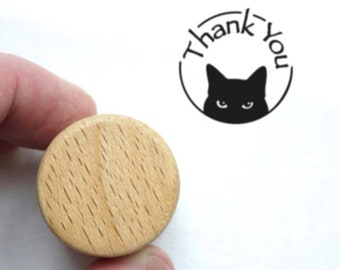 Thank You Cat Stamp, Wooden Ink Stamp for Kitty Lovers