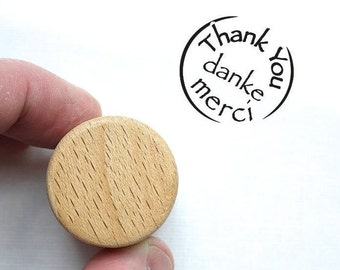 Thank You Stamp, Danke, Merci Wooden Stationary Stamp