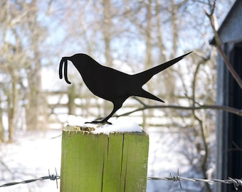 Zen Garden Bird, Metal Bird Yard Art. Bird Lawn Ornament, the Early Bird Catches the Worm