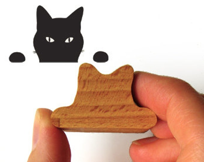 Peeping Tom Cat Stamp, Wooden Handled Ink Stamp