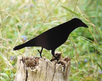 Raven Metal Bird Sculpture, Garden Bird Ornament, Garden Bird Decor