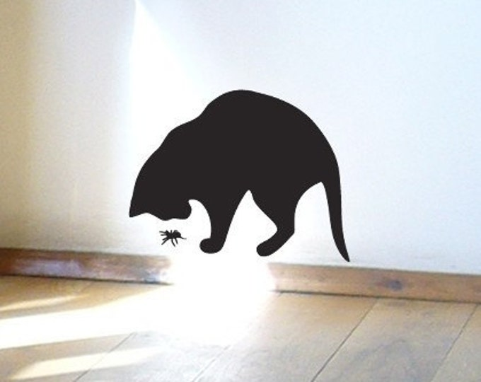 Spider and Cat Wall Sticker or Window Decal for Cat Lovers