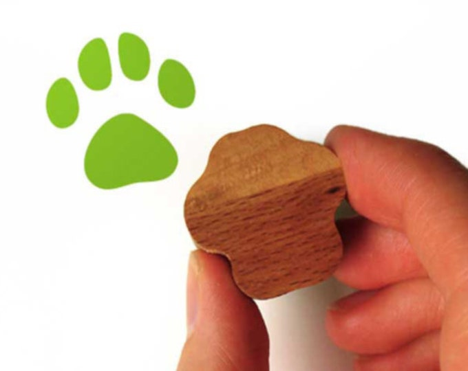 Cat Paw Print Stamp, Cat Stamp with Wooden Handle