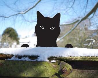 Cat Garden Sculpture, Kitty Yard Art Lawn Ornament of Metal Peeping Tom