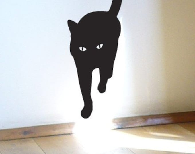 Cat Sticker, Catwalk, Black Cat is coming .. Charming vinyl wall decal