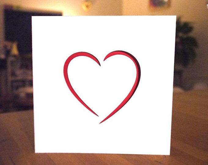 Red Heart Valentine Card, Love Heart Greetings Card