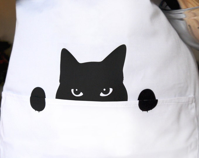 Cat Apron, Kitchen Apron for a Cat Loving Chef, Gift for Her