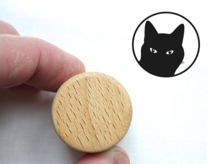 Cat Stamp, Wooden Handled Ink Stamp