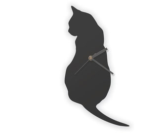 Black Cat Clock, Black Cat Wall Clock, Wooden Clock