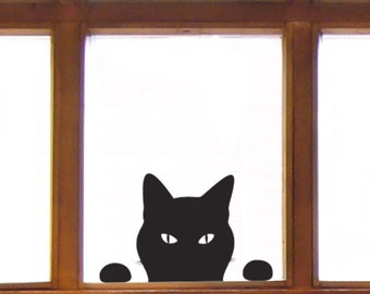 Cat Window Sticker - Cat Wall Sticker, Peeping Tom decal