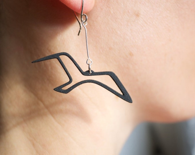 Seagull Bird Earrings, resin and silver