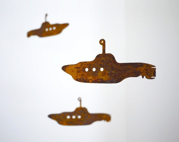 Submarine Hanging Mobile, Rusty Metal Subs Mobile