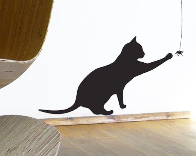 Cat Sticker, Black Cat plays with Spider - Wall or Window Decal