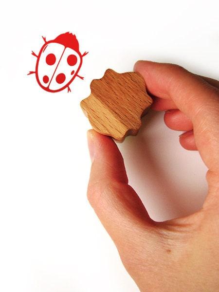 Ladybug Stamp Wood And Rubber Ladybird Ink
