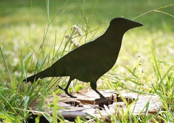 Crow Sculpture for Bird Lovers, Raven Garden Gift