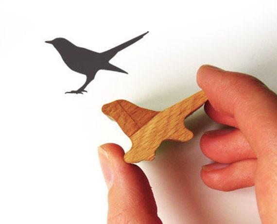Bird Stamp, Bird Lover Gift, Wooden Handled Rubber Stamp