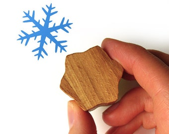 Snowflake Rubber Stamp with Wooden Handle