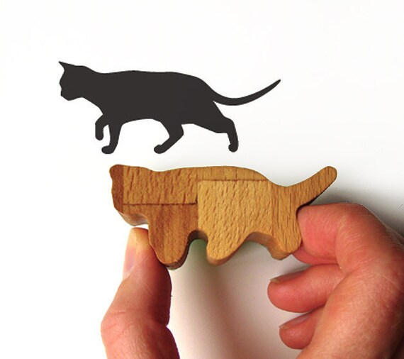 Prowling Cat Stamp Rubber with Wooden Handle