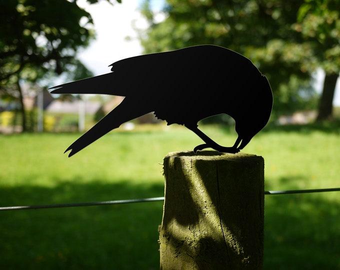Crow Garden Sculpture Gift, Bird Lawn Ornament Yard Art