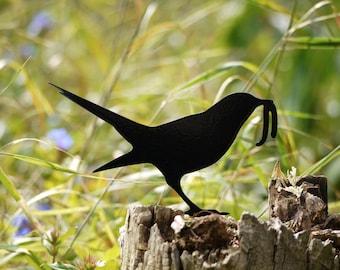Zen Garden Bird, Metal Bird Yard Art. Bird Lawn Ornament, the Early Bird Catches the Worm