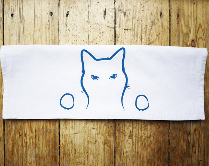 Cat Tea Towel, Screen Printed Cotton Kitchen Towel