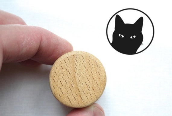 Cat Rubber Stamp, Wooden Handled Kitty Ink Stamp