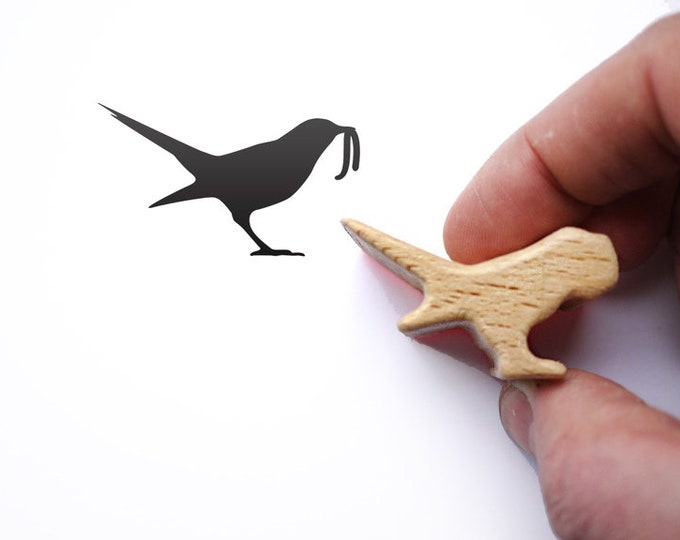 Bird Rubber Stamp, Early Bird Catches the Worm Stamp