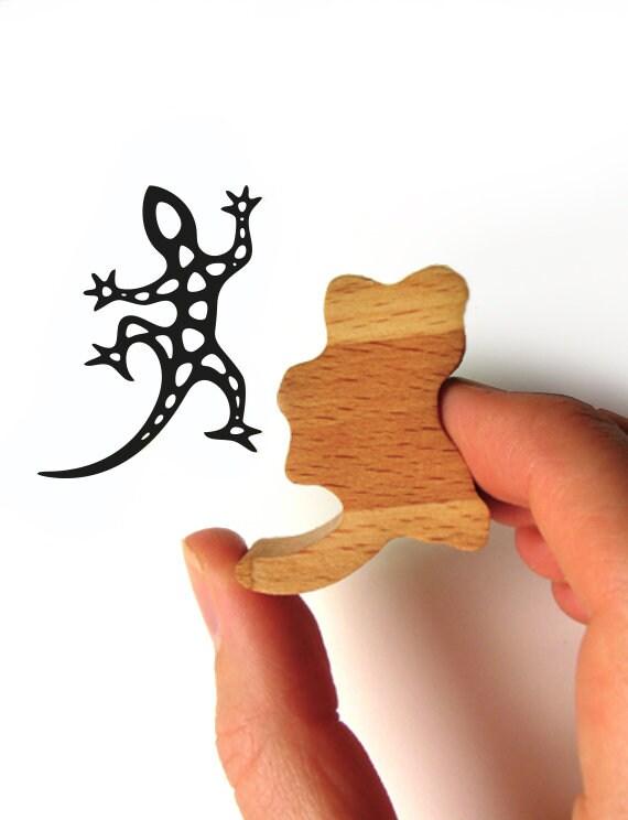 Gecko Rubber Stamp, Harlequin Gecko Ink Stamp