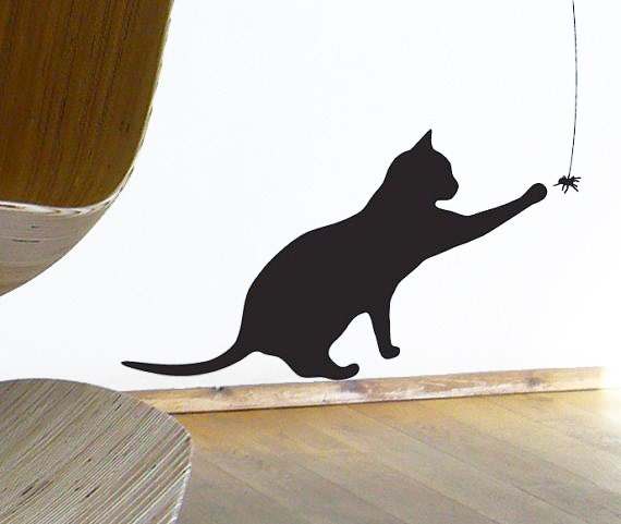 Cat Wall Sticker, Black Cat plays with Spider Wall or Window Decal