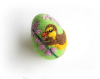 Easter Egg,Felted Egg,Needle felted Ornament,Spring Ornament,Easter egg with Duckling,