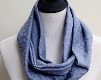 Soft Blue Quilted Daisies Infinity Scarf, Thick Jersey Knit, Floral Scarf, Comfy and Casual Scarf