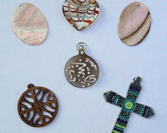 Assorted Pendants, Glass Heart Pendant, Enamel Cross Pendant, Shell Pendant, Lasercut Wooden Pendant, Make your own Necklace