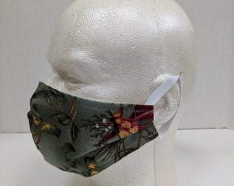 Cardinal Cotton Mask, Christmas Mask, 100% Cotton Face Mask, Cotton Face Covering, Adult Size Mask, Handmade Mask, Made in USA Free Shipping